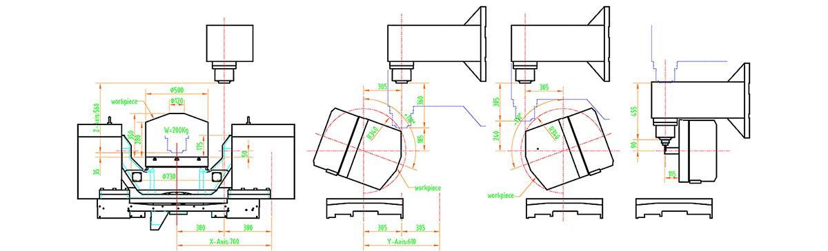trunion 5 axis cnc machining centre - pinnacle ax500 - work range diagram